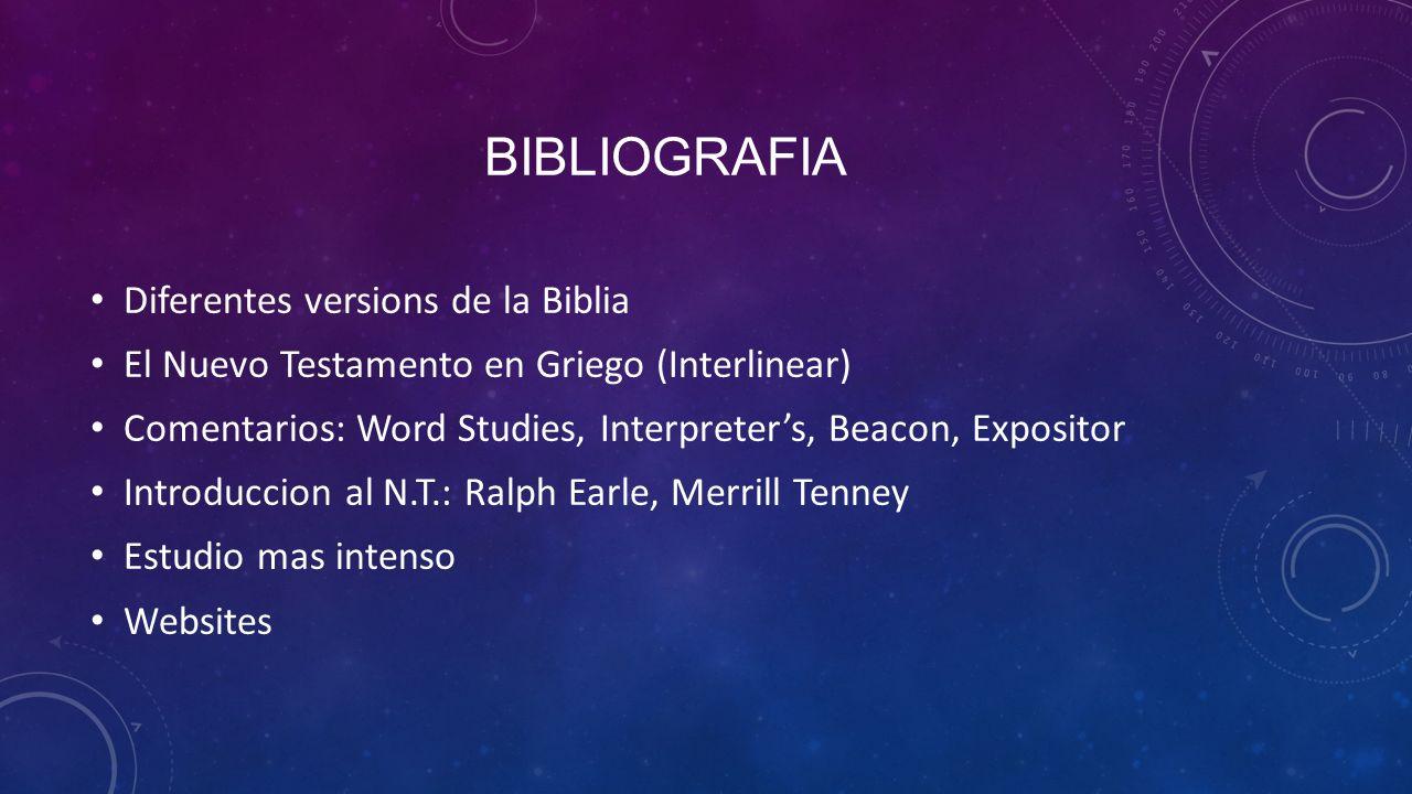 Bibliografia Diferentes versions de la Biblia