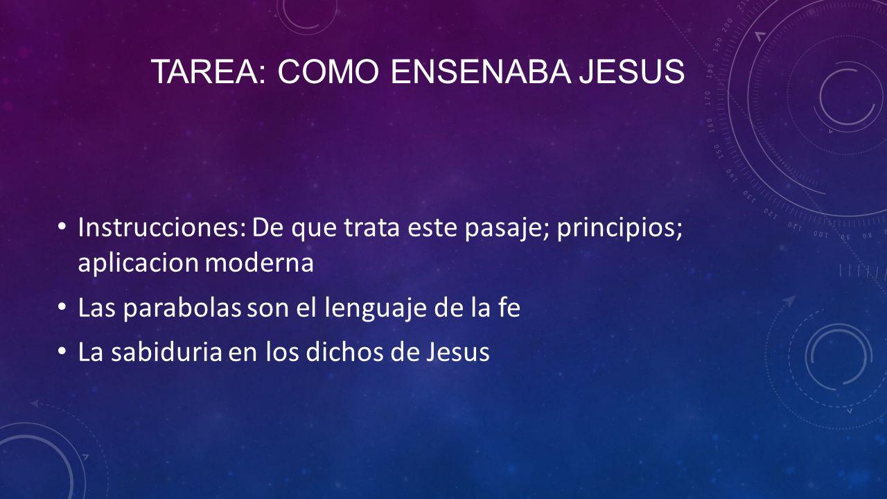 Tarea: como ensenaba jesus