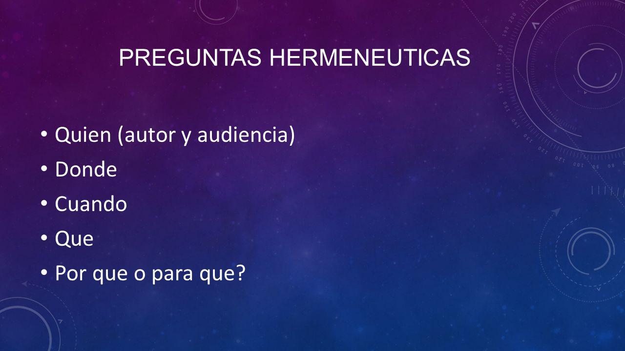 Preguntas hermeneuticas