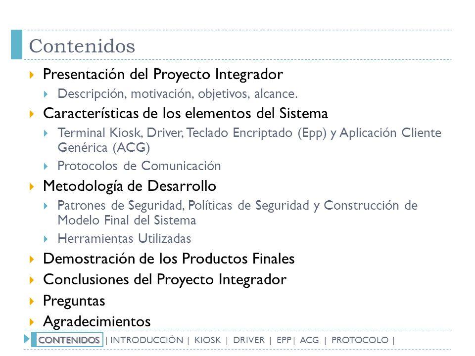 Contenidos Presentación del Proyecto Integrador