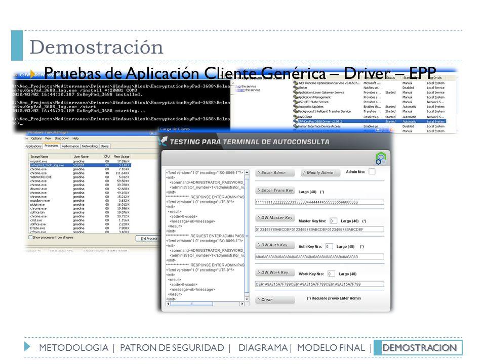 Demostración Pruebas de Aplicación Cliente Genérica – Driver – EPP