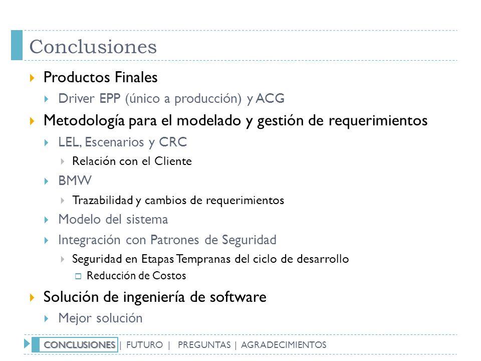 Conclusiones Productos Finales