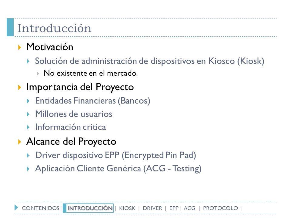 Introducción Motivación Importancia del Proyecto Alcance del Proyecto