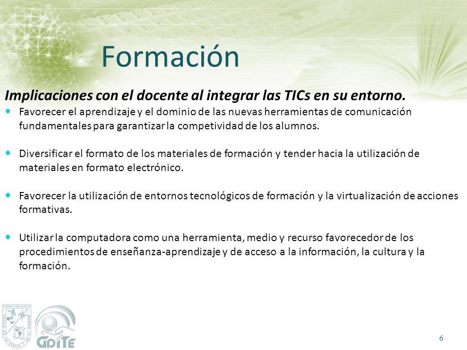 Formación Implicaciones con el docente al integrar las TICs en su entorno.