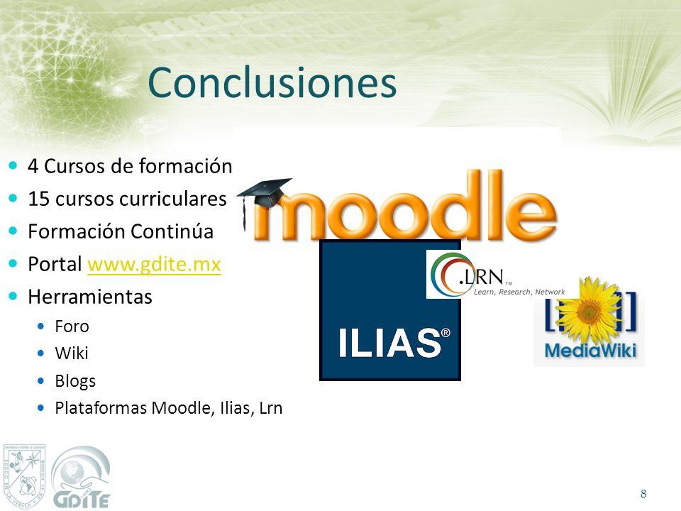 Conclusiones 4 Cursos de formación 15 cursos curriculares