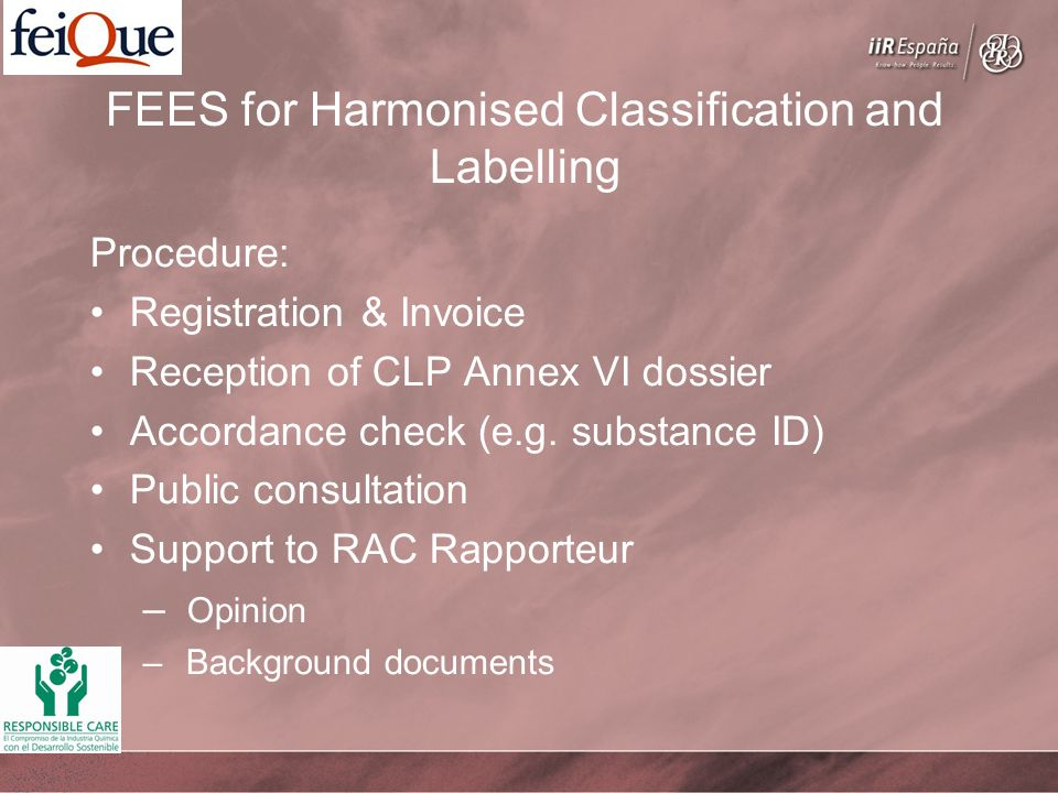 FEES for Harmonised Classification and Labelling