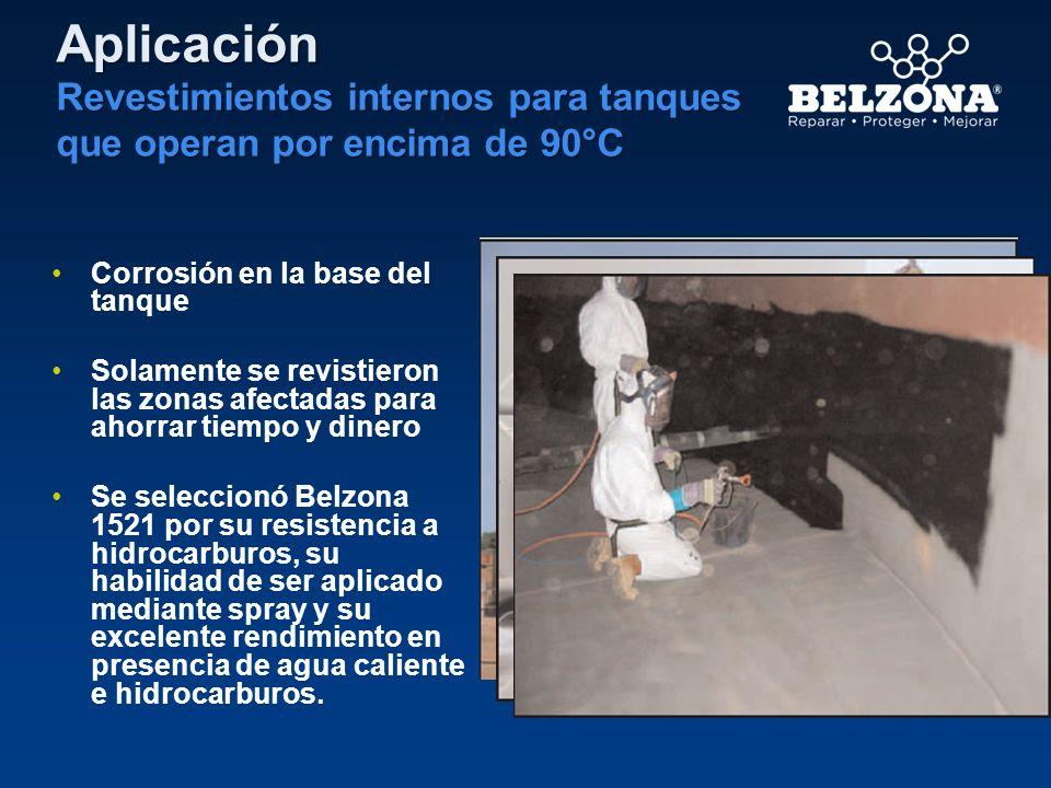 Aplicación Revestimientos internos para tanques que operan por encima de 90°C