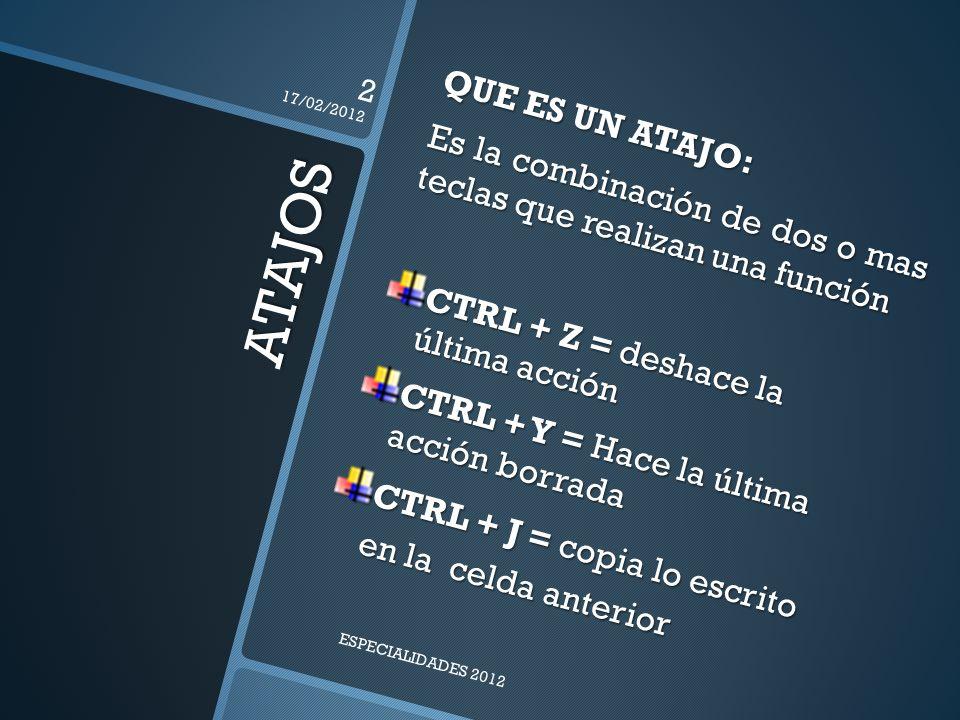 17/02/2012 QUE ES UN ATAJO: Es la combinación de dos o mas teclas que realizan una función. CTRL + Z = deshace la última acción.