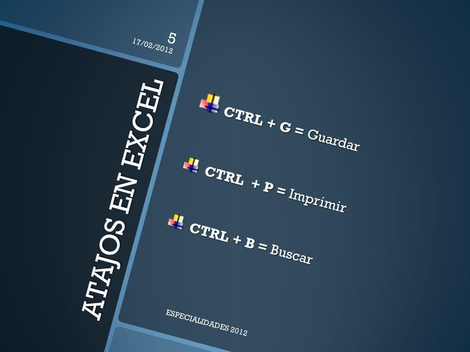 ATAJOS EN EXCEL CTRL + G = Guardar CTRL + P = Imprimir