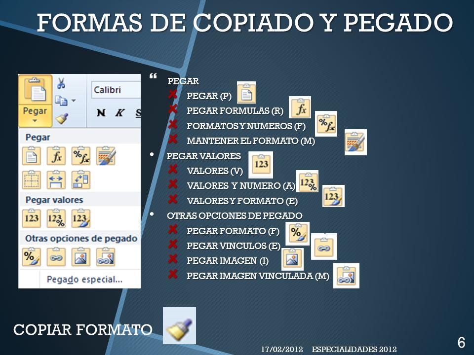 FORMAS DE COPIADO Y PEGADO