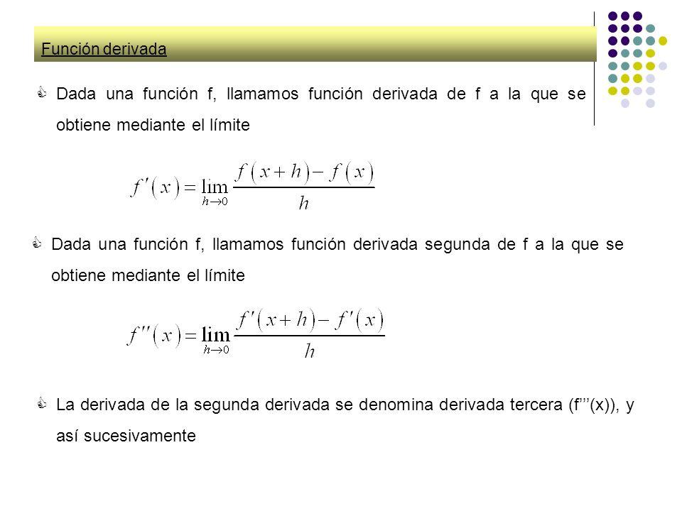 Función derivada Dada una función f, llamamos función derivada de f a la que se obtiene mediante el límite.