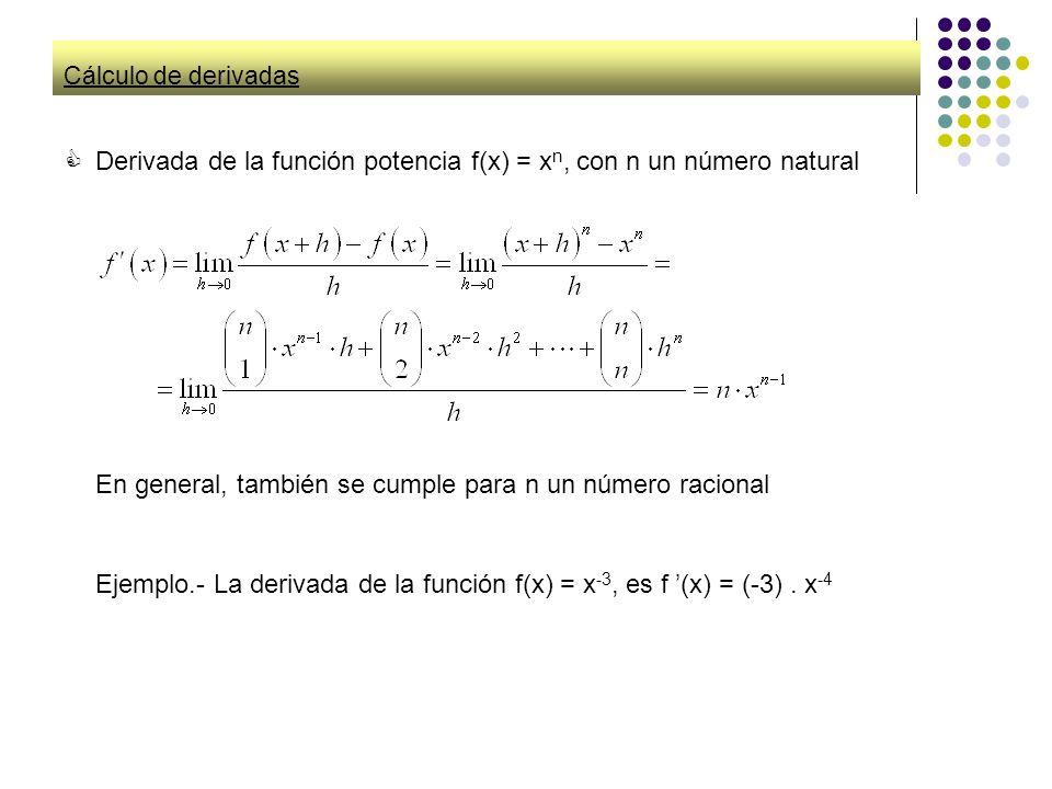 Derivada de la función potencia f(x) = xn, con n un número natural