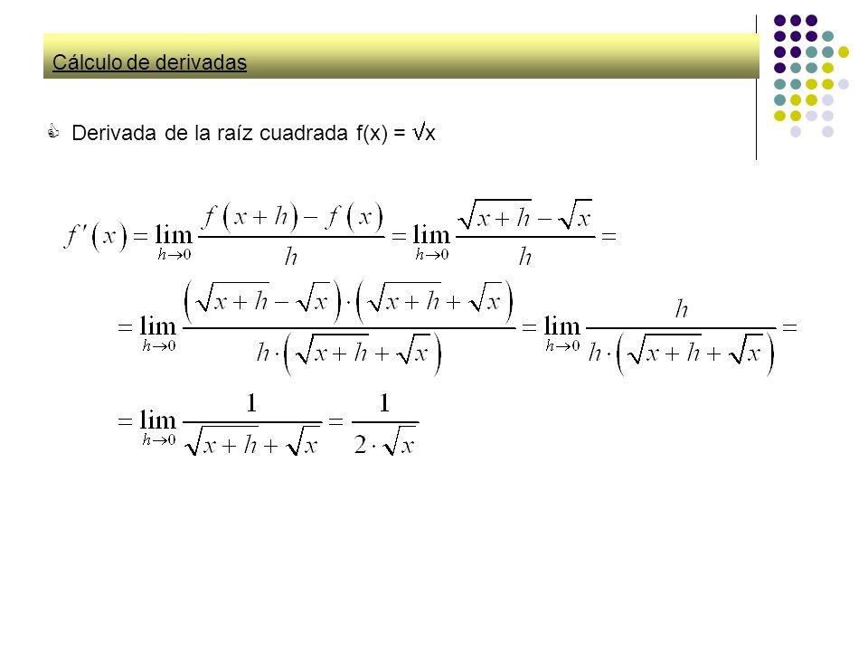 Derivada de la raíz cuadrada f(x) = x