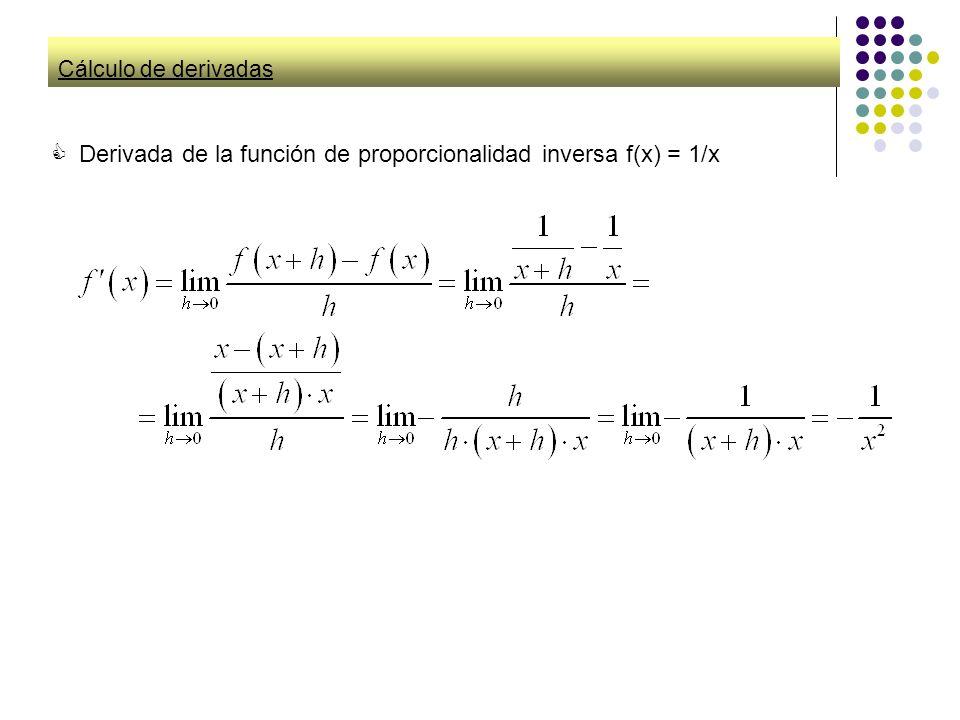 Derivada de la función de proporcionalidad inversa f(x) = 1/x