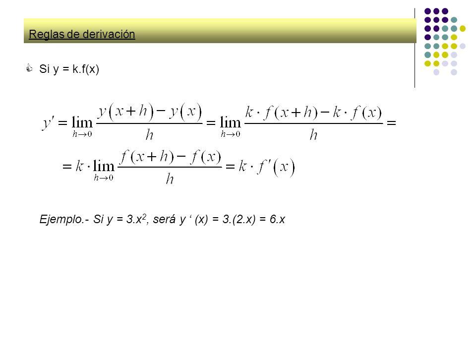 Ejemplo.- Si y = 3.x2, será y ' (x) = 3.(2.x) = 6.x