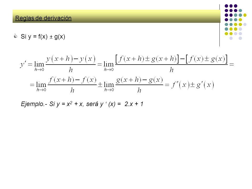 Ejemplo.- Si y = x2 + x, será y ' (x) = 2.x + 1