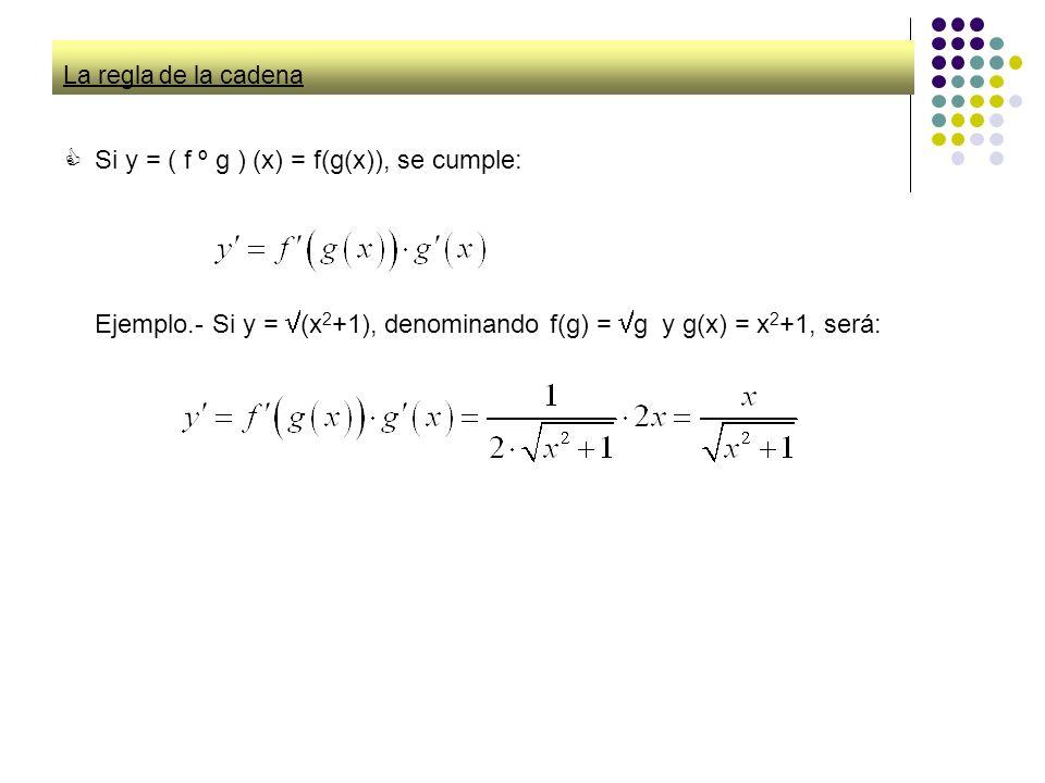 Si y = ( f º g ) (x) = f(g(x)), se cumple: