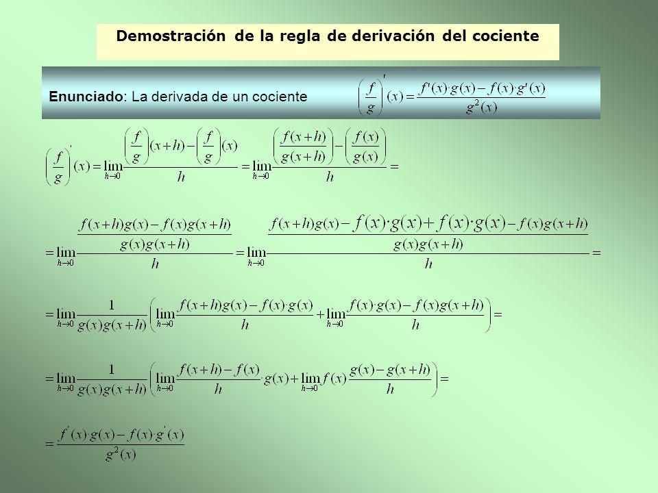 Demostración de la regla de derivación del cociente
