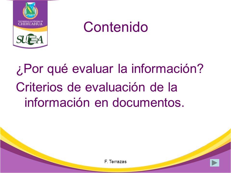 Contenido ¿Por qué evaluar la información