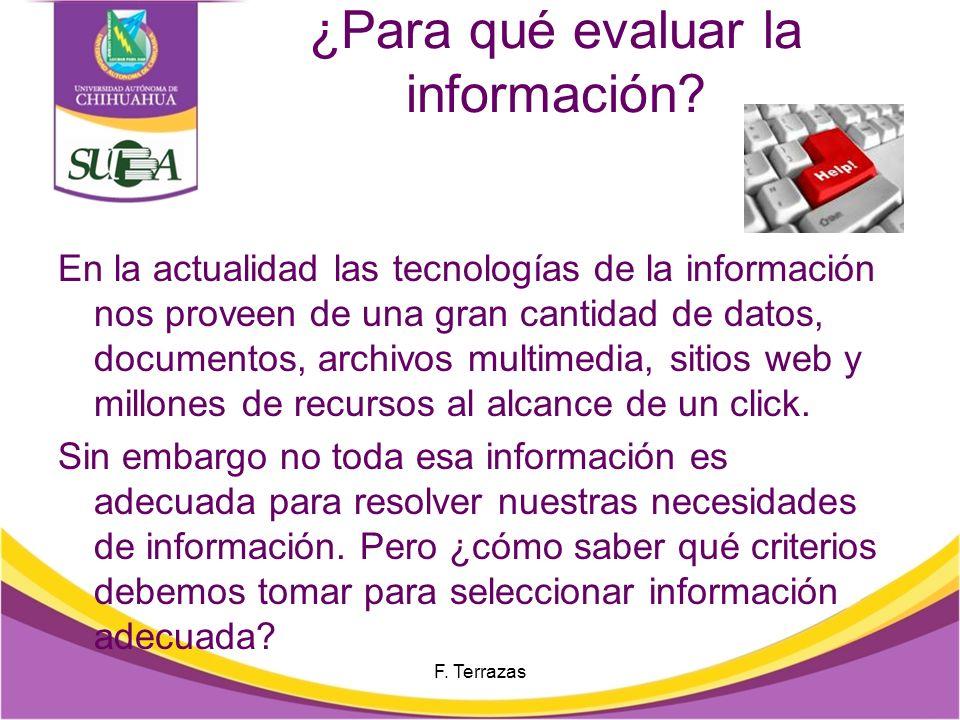 ¿Para qué evaluar la información
