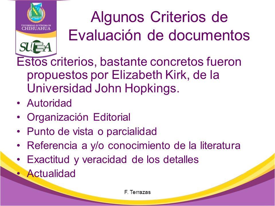 Algunos Criterios de Evaluación de documentos