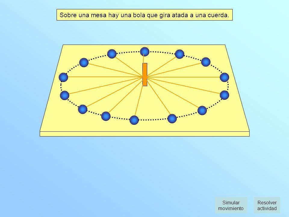 Sobre una mesa hay una bola que gira atada a una cuerda.