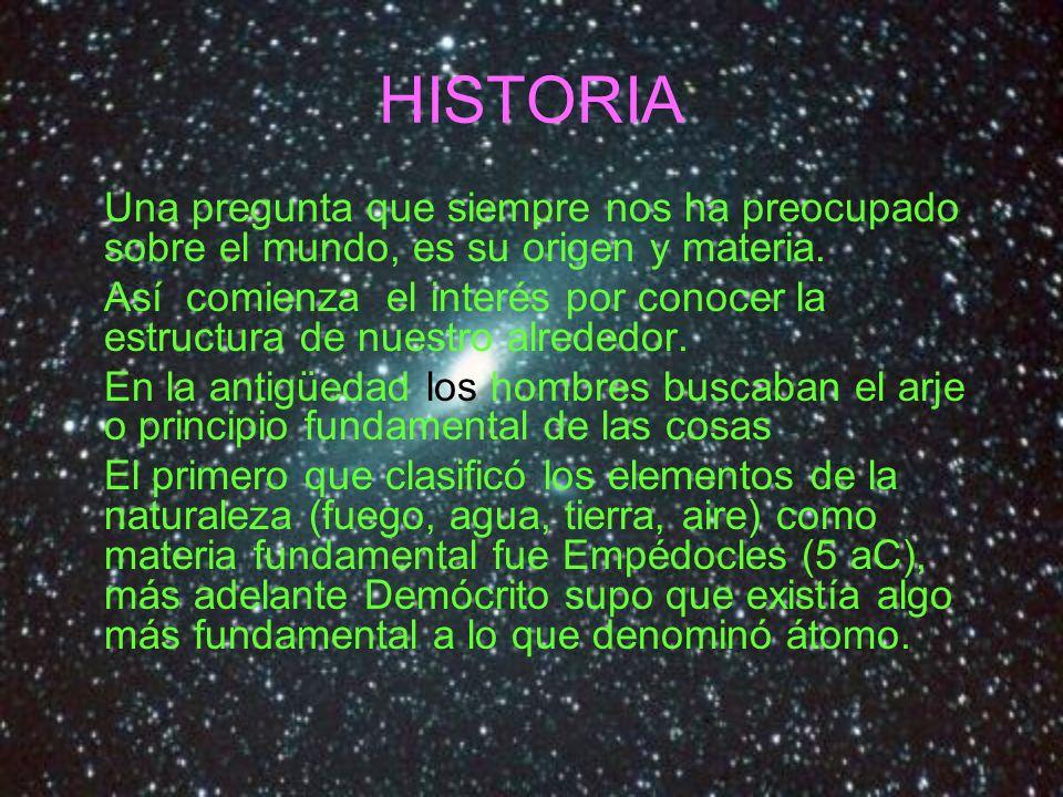 HISTORIA Una pregunta que siempre nos ha preocupado sobre el mundo, es su origen y materia.
