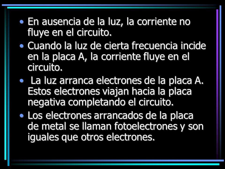 En ausencia de la luz, la corriente no fluye en el circuito.