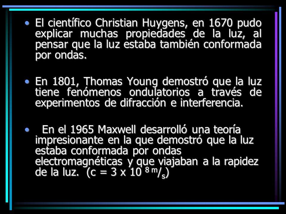 El científico Christian Huygens, en 1670 pudo explicar muchas propiedades de la luz, al pensar que la luz estaba también conformada por ondas.