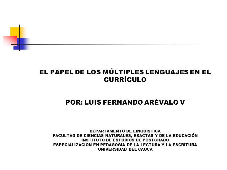 EL PAPEL DE LOS MÚLTIPLES LENGUAJES EN EL CURRÍCULO POR: LUIS FERNANDO ARÉVALO V DEPARTAMENTO DE LINGÜÍSTICA FACULTAD DE CIENCIAS NATURALES, EXACTAS Y DE LA EDUCACIÓN INSTITUTO DE ESTUDIOS DE POSTGRADO ESPECIALIZACIÓN EN PEDAGOGÍA DE LA LECTURA Y LA ESCRITURA UNIVERSIDAD DEL CAUCA