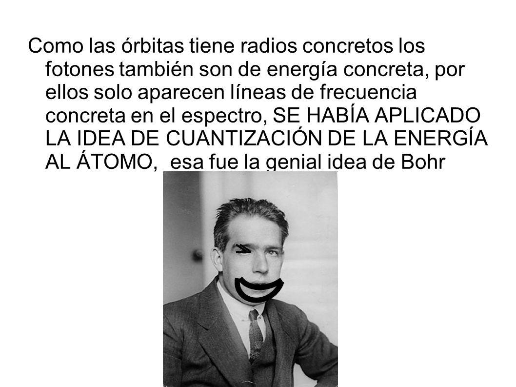 Como las órbitas tiene radios concretos los fotones también son de energía concreta, por ellos solo aparecen líneas de frecuencia concreta en el espectro, SE HABÍA APLICADO LA IDEA DE CUANTIZACIÓN DE LA ENERGÍA AL ÁTOMO, esa fue la genial idea de Bohr