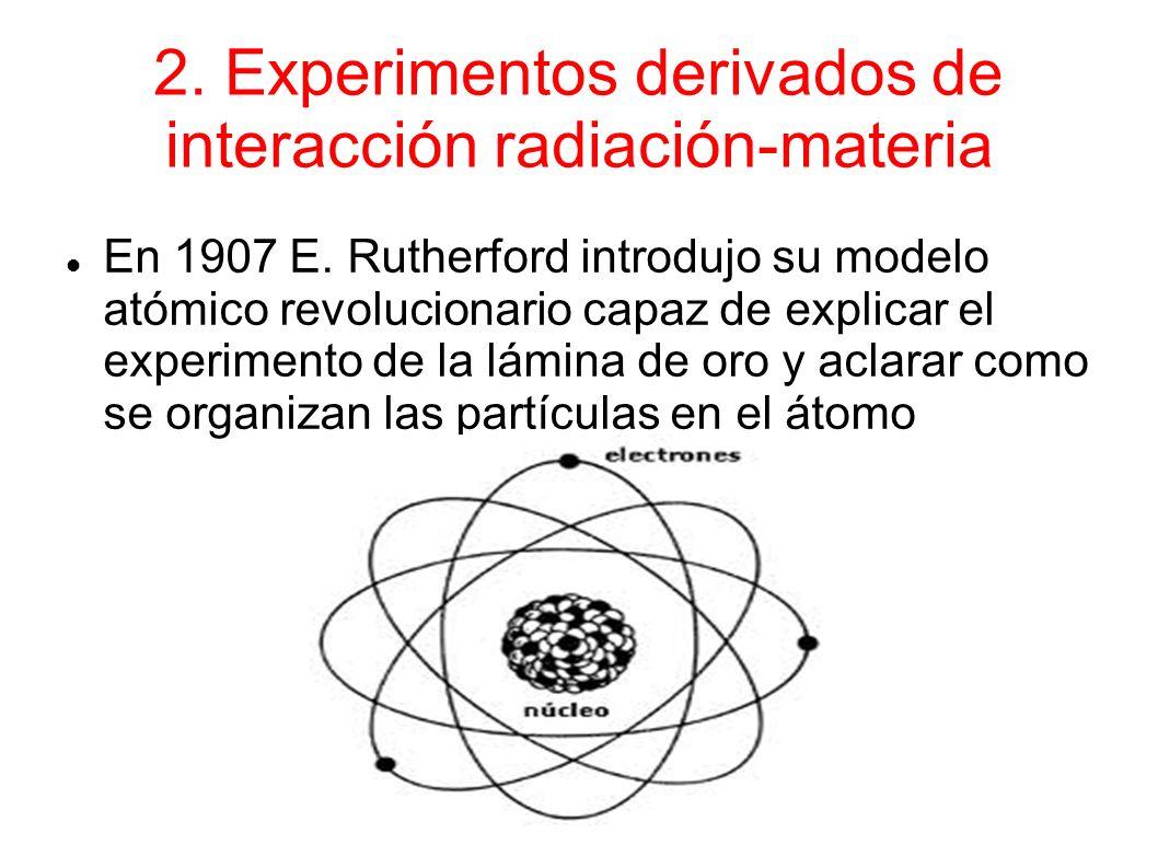 2. Experimentos derivados de interacción radiación-materia