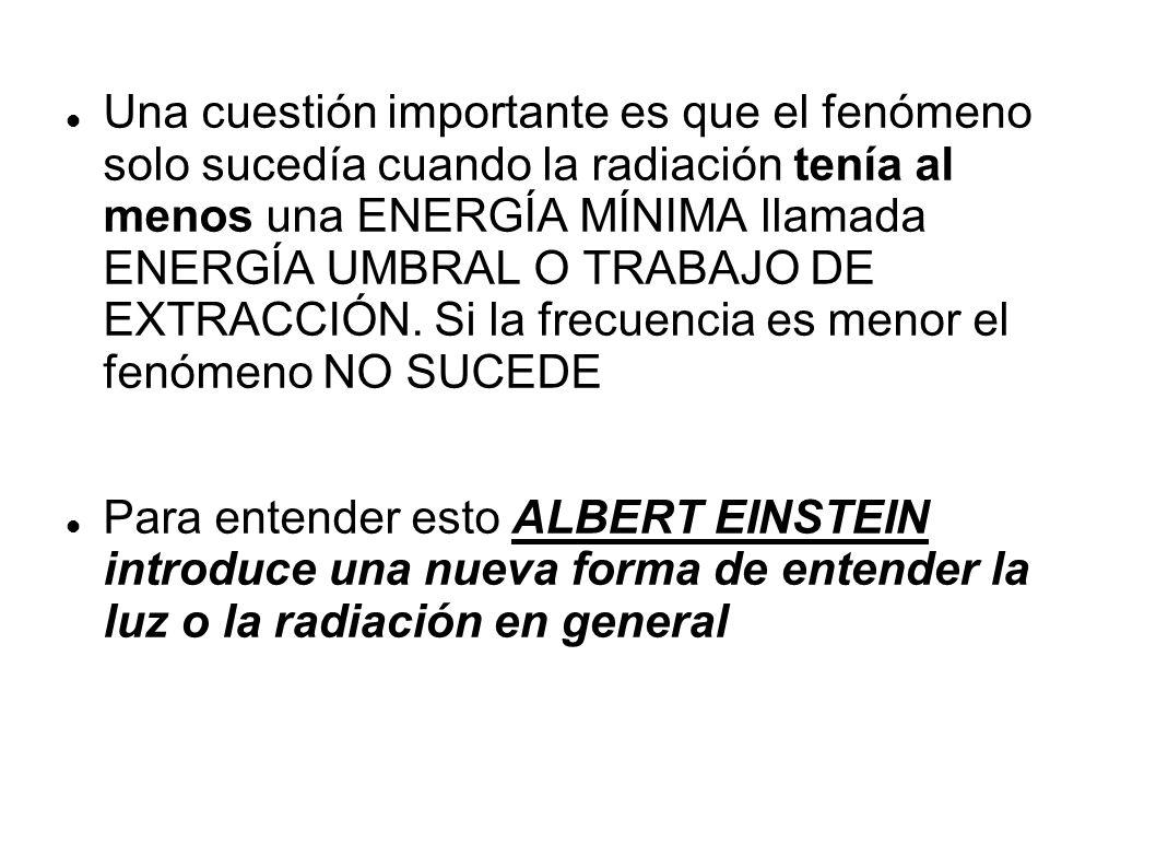 Una cuestión importante es que el fenómeno solo sucedía cuando la radiación tenía al menos una ENERGÍA MÍNIMA llamada ENERGÍA UMBRAL O TRABAJO DE EXTRACCIÓN. Si la frecuencia es menor el fenómeno NO SUCEDE