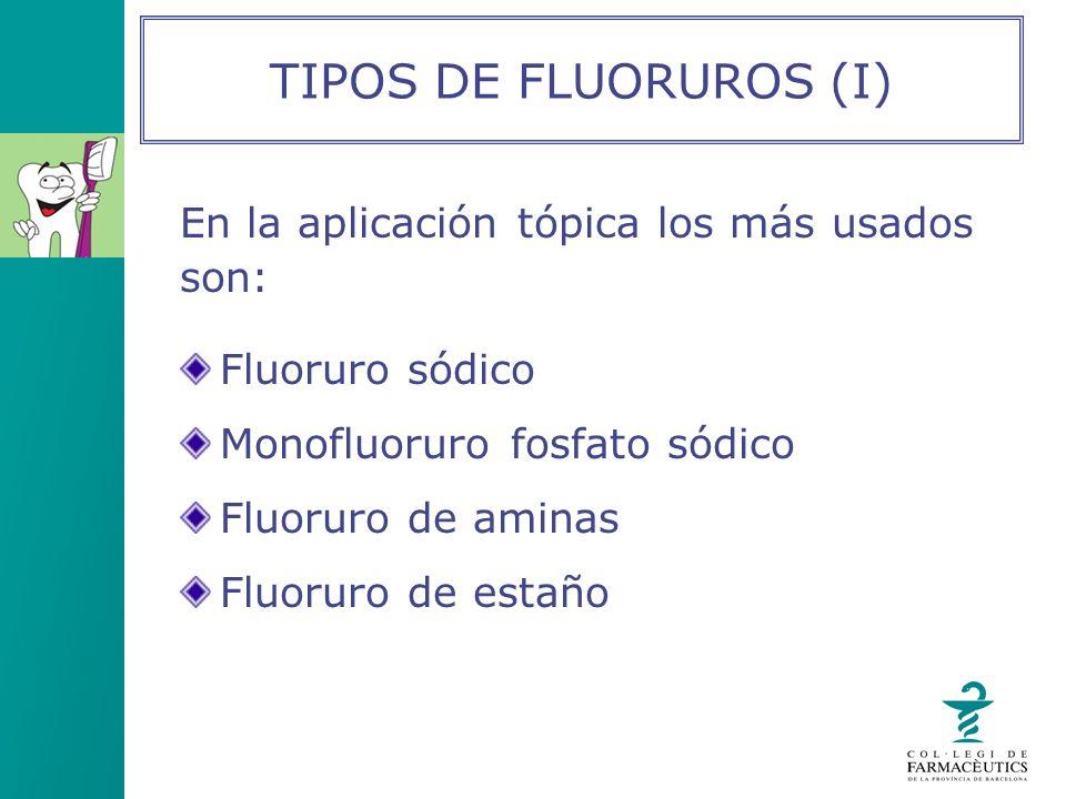 TIPOS DE FLUORUROS (I) En la aplicación tópica los más usados son: