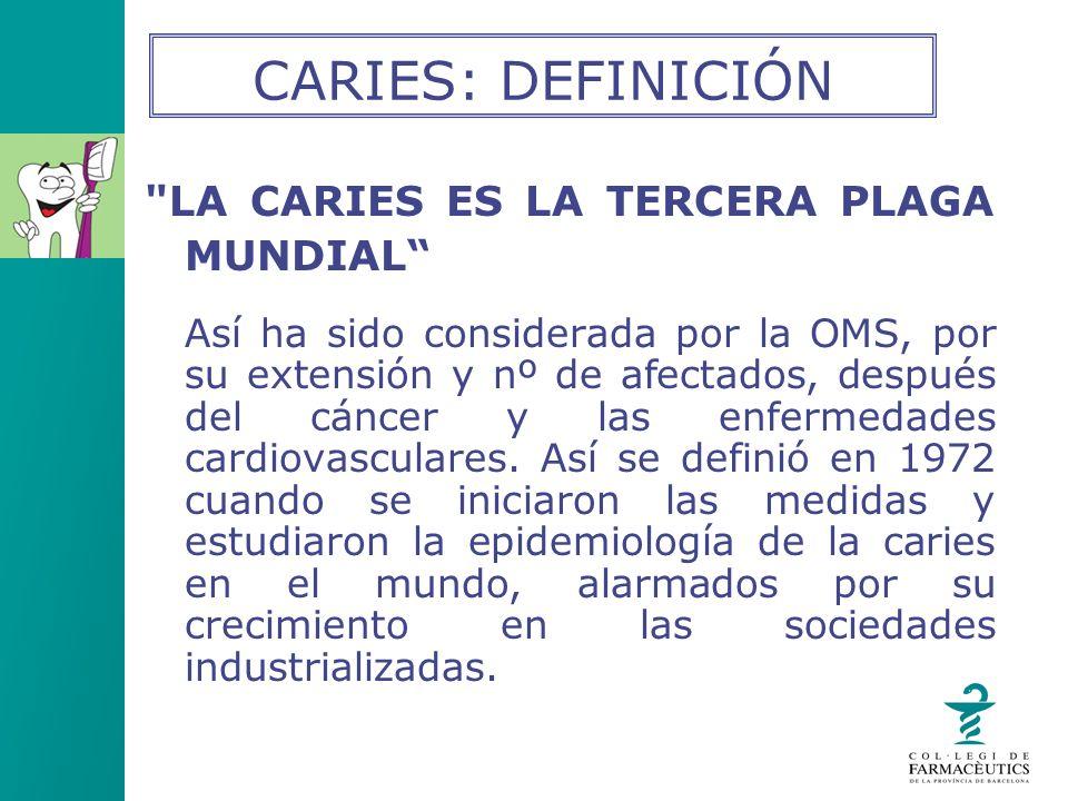 CARIES: DEFINICIÓN LA CARIES ES LA TERCERA PLAGA MUNDIAL