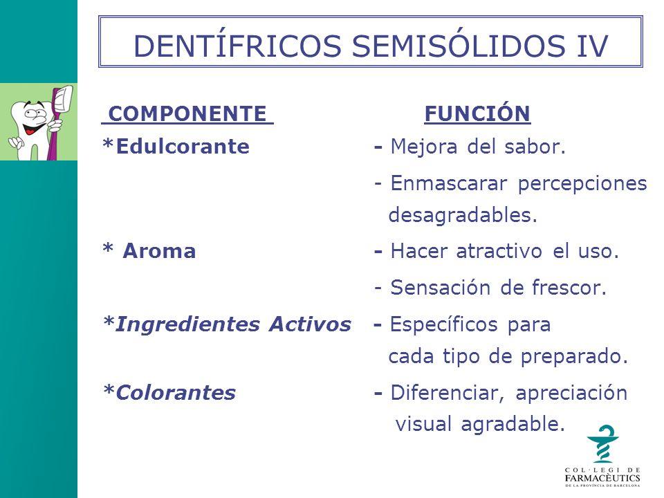 DENTÍFRICOS SEMISÓLIDOS IV
