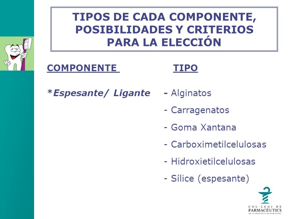 TIPOS DE CADA COMPONENTE, POSIBILIDADES Y CRITERIOS PARA LA ELECCIÓN