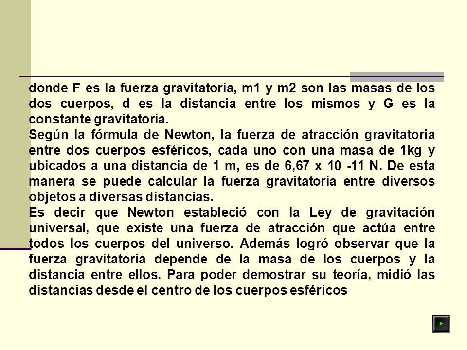 donde F es la fuerza gravitatoria, m1 y m2 son las masas de los dos cuerpos, d es la distancia entre los mismos y G es la constante gravitatoria.
