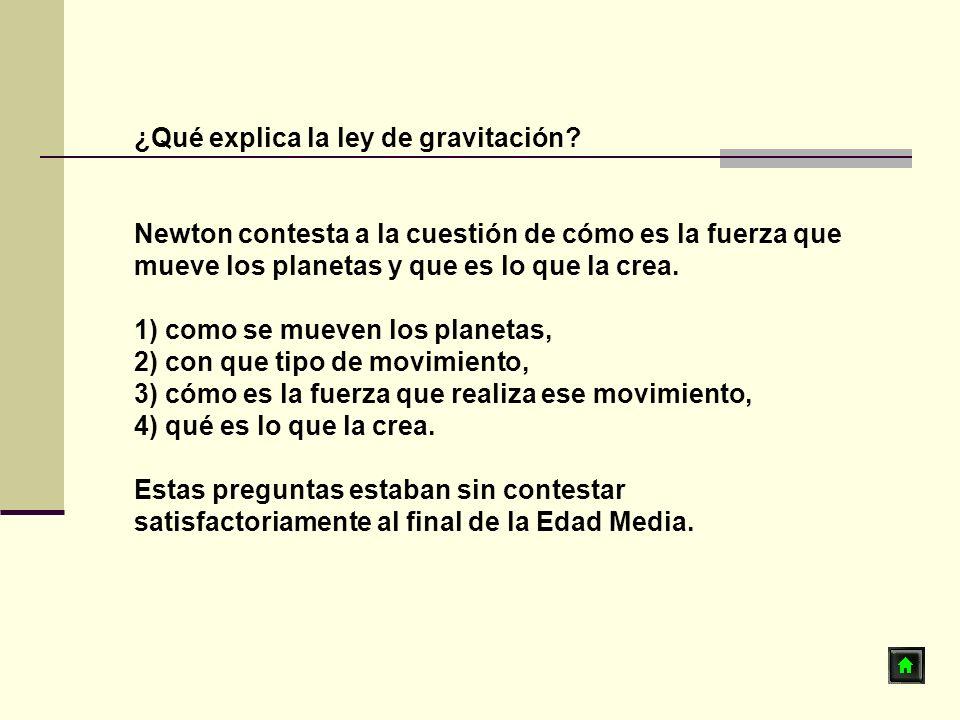¿Qué explica la ley de gravitación