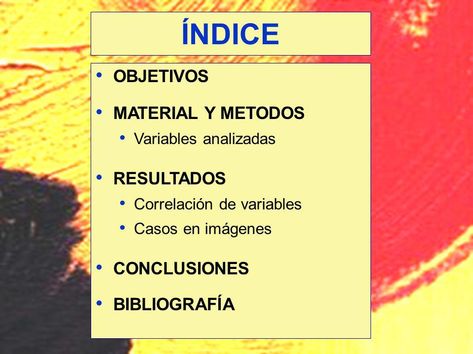 ÍNDICE OBJETIVOS MATERIAL Y METODOS RESULTADOS CONCLUSIONES
