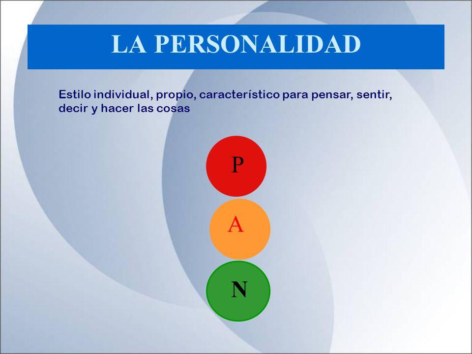 LA PERSONALIDAD Estilo individual, propio, característico para pensar, sentir, decir y hacer las cosas.