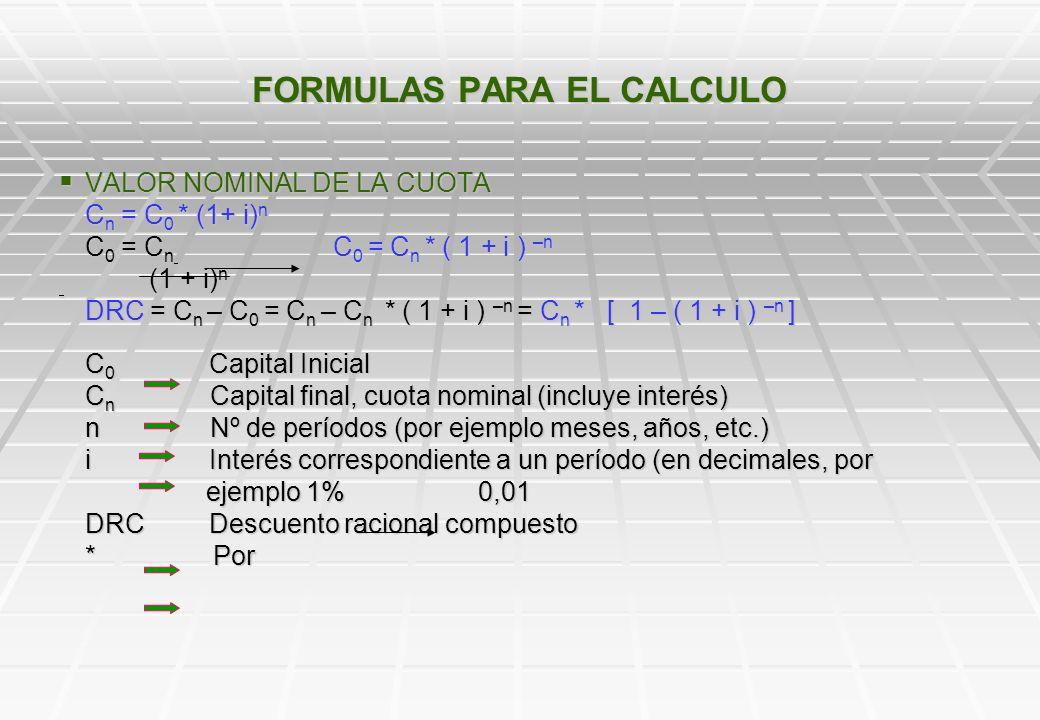 FORMULAS PARA EL CALCULO