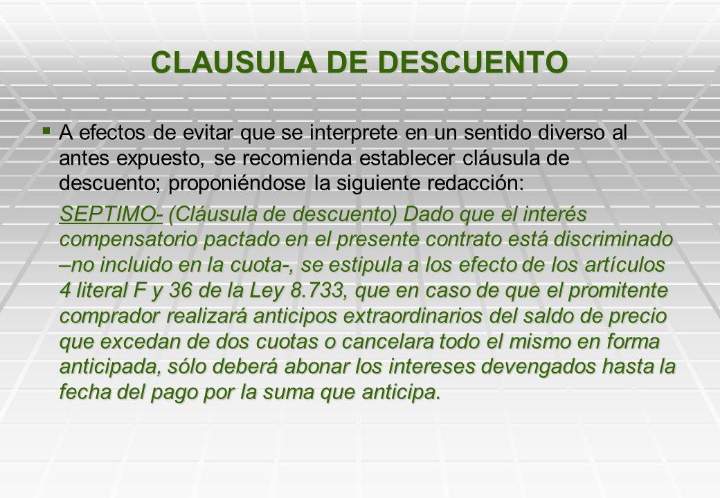 CLAUSULA DE DESCUENTO