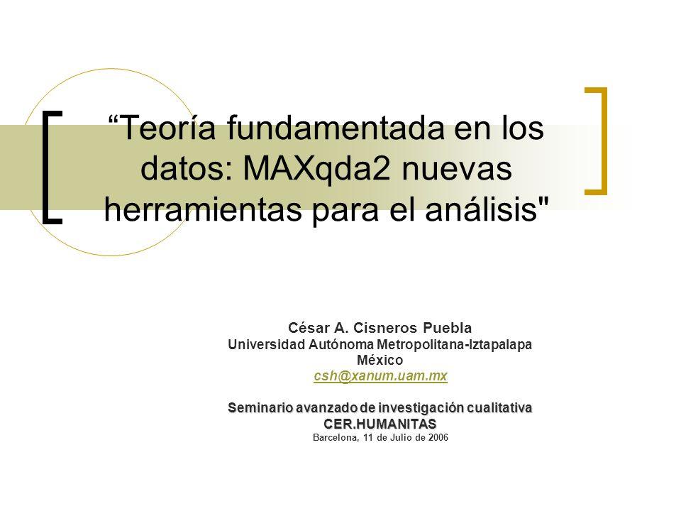 Teoría fundamentada en los datos: MAXqda2 nuevas herramientas para el análisis