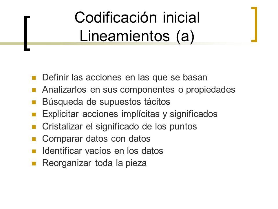 Codificación inicial Lineamientos (a)