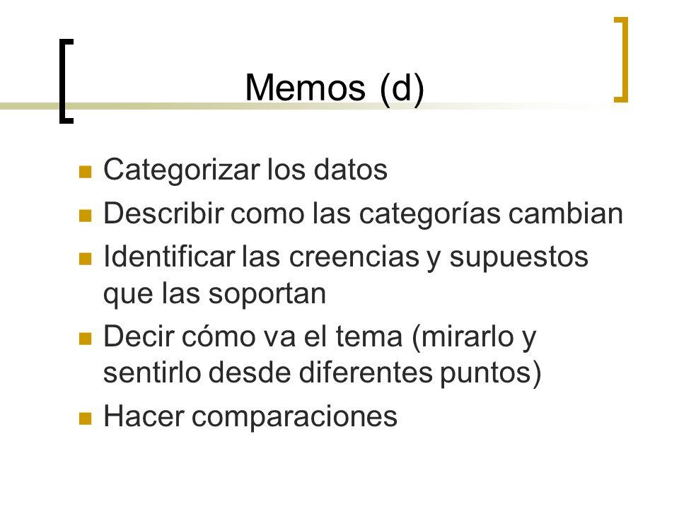 Memos (d) Categorizar los datos Describir como las categorías cambian