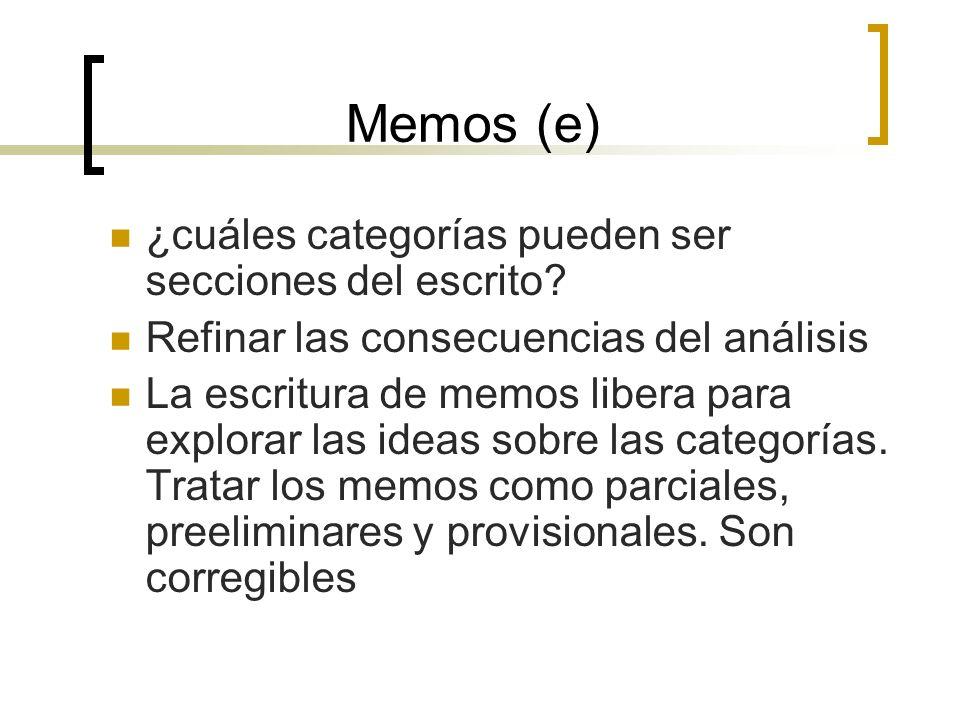 Memos (e) ¿cuáles categorías pueden ser secciones del escrito
