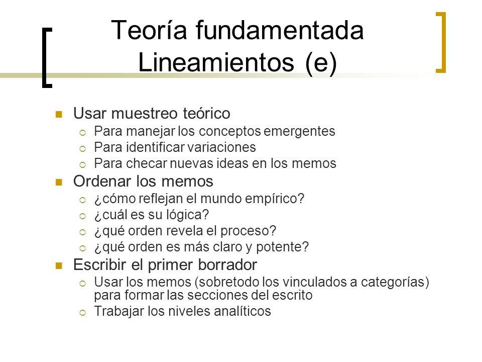 Teoría fundamentada Lineamientos (e)