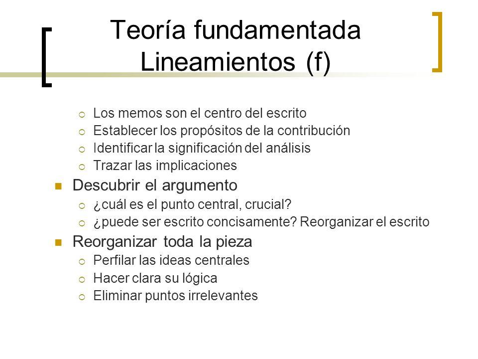 Teoría fundamentada Lineamientos (f)