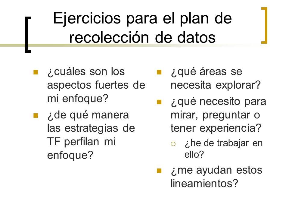 Ejercicios para el plan de recolección de datos